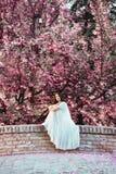 美丽,深色的妇女坐一座桥梁,户外在一件美丽,白色礼服 免版税库存照片