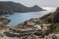 美之女神寺庙在Knidos, Datca, Mugla,土耳其 库存照片