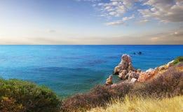 美之女神海湾  帕福斯,塞浦路斯 免版税图库摄影