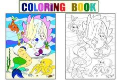 美人鱼在镜子彩图看为儿童动画片传染媒介例证 颜色,黑白 皇族释放例证