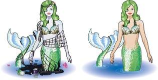 美人鱼在水中 库存照片