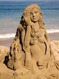 美人鱼沙子城堡 免版税库存照片