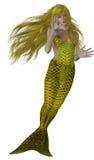 美人鱼游泳黄色 免版税库存照片