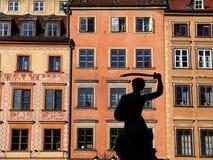 美人鱼老方形城镇华沙 免版税库存照片