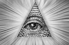美元上帝的美国眼睛 黑色白色 库存图片