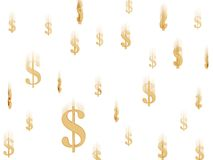 美元下跌的金子符号 库存图片