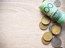 美元与拷贝空间的澳大利亚金钱 库存图片