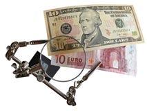 美元与欧元 库存照片