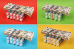 美元位置包装空白装箱的片剂 库存图片