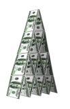 美元修建房子。财政pyramide概念 免版税库存照片