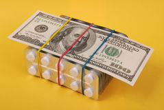 美元包装片剂的一百位置空白 免版税图库摄影
