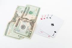 美元和一点在白色 图库摄影