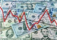 美元和下降的图表 库存图片