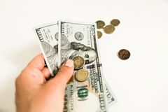 美元和分在白色背景 库存照片