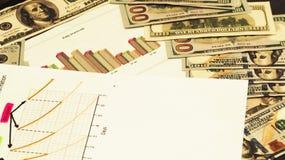 美元和图表图象 在会计,战略事务的逻辑分析方法 免版税库存图片