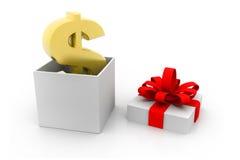 美元和开放礼物盒 免版税库存照片