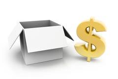 美元和开放箱子 库存图片