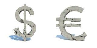 美元和欧元,易碎的秋天 库存图片