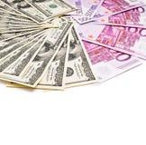美元和欧洲货币爱好者 库存图片