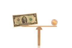 美元和欧洲平衡价格是相等的 库存图片