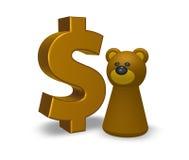 美元和熊 免版税库存图片