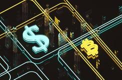美元和bitcoin玻璃表面上 免版税库存图片