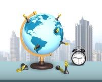美元在地球的棋立场与时钟 库存图片