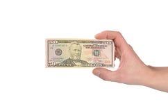 美元在白色隔绝的一个人的手上 免版税图库摄影