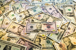 美元堆。 免版税库存照片