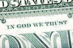 美元宏指令,被堆积的特写镜头细节照片 在上帝我们信任参议员 免版税图库摄影