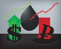 美元成长,卢布衰落例证 图库摄影