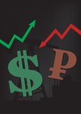 美元成长,卢布衰落例证 库存照片