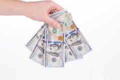 美元手中的钞票 免版税库存照片