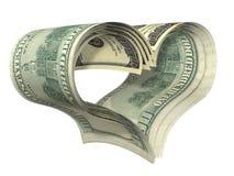 美元查出的重点做形状华伦泰 免版税库存照片