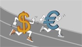 美元欧元与 欧洲 库存例证