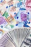 美元欧元与 库存照片