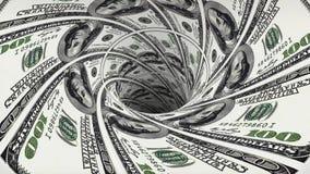 美元污水池blackhole漏斗隧道无缝的圈动画背景新的质量财务事务冷却好 向量例证