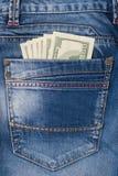美元牛仔裤货币一矿穴二 图库摄影