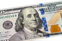 从100美元的本杰明・富兰克林画象钞票 免版税图库摄影