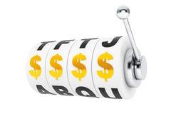 美元的符号为在老虎机轮子的困境排队 库存照片