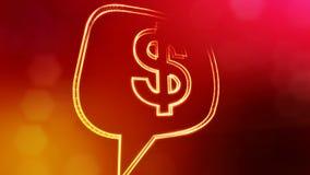 美元的符号云彩消息象征  光亮微粒财务背景  3D与景深的圈动画 库存例证