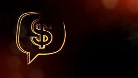 美元的符号云彩消息象征  光亮微粒财务背景  3D与景深的圈动画 股票录像