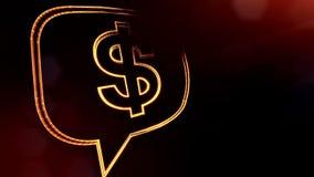 美元的符号云彩消息象征  光亮微粒财务背景  3D与景深的圈动画 向量例证