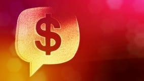 美元的符号云彩消息象征  光亮微粒财务背景  3D与深度的无缝的动画  向量例证