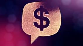 美元的符号云彩消息象征  光亮微粒财务背景  3D与深度的无缝的动画  皇族释放例证