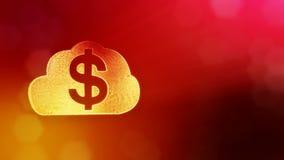 美元的符号云彩象征  光亮微粒财务背景  3D与景深的圈动画, bokeh 库存例证