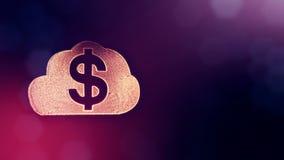 美元的符号云彩象征  光亮微粒财务背景  3D与景深的圈动画, bokeh 向量例证