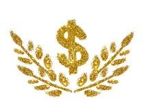 美元的符号和枝杈有金黄闪烁叶子的在白色背景闪耀 繁荣的概念 库存图片