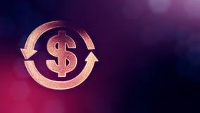 美元的符号圆的箭头象征  光亮微粒财务背景  3D与景深的圈动画 库存例证