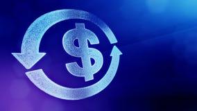 美元的符号圆的箭头象征  光亮微粒财务背景  3D与景深的圈动画 皇族释放例证